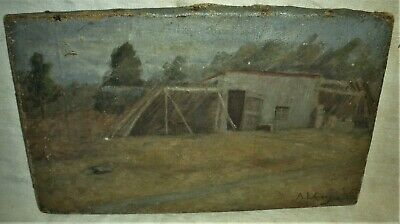 ANTIQUE c1930 GREAT DEPRESSION ERA PAINTING LEAN-TO CABIN / HOUSE A.L. CARY vafo
