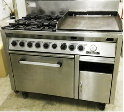 WARLDORF Gas commercial Oven Cooker RANGE 4 burner double hot plate stove