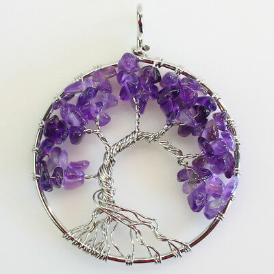 Amethyst Gemstones Chip Beads Chakra Tree of Life Silver Pendant for Necklace