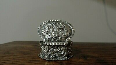 Antique Sterling Silver Snuff or Pill Box Victorian