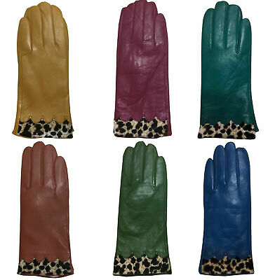 Women Ladies Soft Real Leather Gloves Fully Lined with Leopard Print Trim New UK