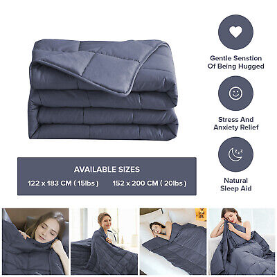 Weighted Blanket Adults Kids Sensory Therapy Deep Sleep Reduce Anxiety 15,20lbs