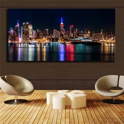 Large Modern Abstract  Painting Canvas Unframed City Night View Huge Wall Decor
