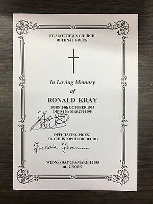 A Signed Ronnie Kray Order Of Service By Freddie Foreman