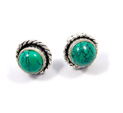Turquoise .925 Silver Plated Handmade Stud Earring Jewelry JC8187
