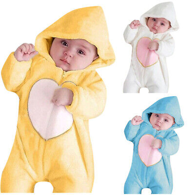 Newborn Winter Baby Girls Boys Winter Warm Fleece Hooded Romper Jumpsuit Outfits