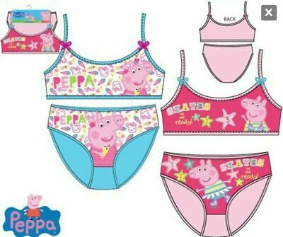 Peppa Pig Girls underwear set blue or pink age 2-8 new on hangers with tags