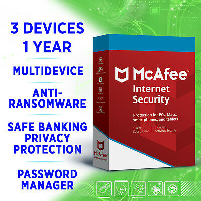 McAfee Internet Security 3 devices 1 year Multidevice full edition 2019 2020