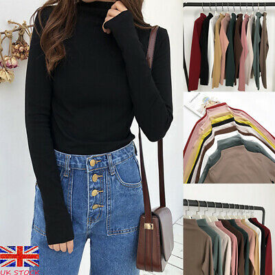 Women Ribbed Roll Neck Stretch Top Long Sleeve Jumper Turtle Neck Plain Blouse