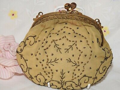 Original Vintage French Hand Beaded Sml Evening Bag With Goldtone Embossed Frame