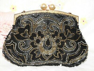 Original Vintage Art Deco Style French Beaded Evening Bag, Circa 1930's - 1950.