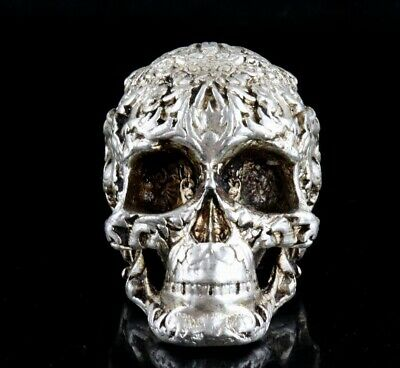 Collect China Old Tibet Silver Hand-Carved Vicious Skull Moral Exorcious Statue