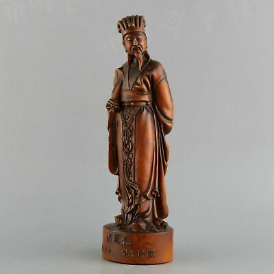 Collect Old Boxwood Carve China Ancient Militarist Zhu Geliang Souvenir Statue