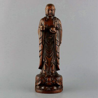 Collect China Old Boxwood Hand-Carve Xuan Zang Wizard Auspicious Exorcism Statue