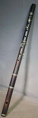 Antique 1800s French German Drk Wood Nickel Silver Simple Flute EARLY to restore