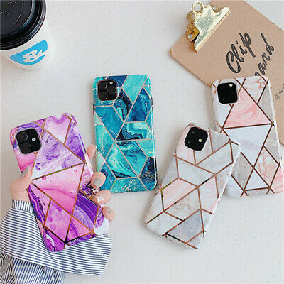 For iPhone 11 Pro MAX XS X XR 8 7 Plus Geometric Marble Case Soft Pastel Cover
