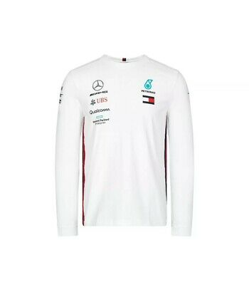 NEW 2019 Mercedes AMG F1 Team Lewis Hamilton Long Sleeve T Shirt Tee Top WHITE L