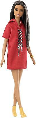 Barbie Fashionista Doll 32cm, Brunette and Look with Dress Red Bus Mattel FJF49