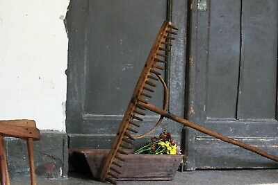 Antique Wooden Rake Rare Hand Farm Garden Tool Rustic Farmhouse Wall Decor