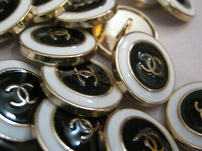 CHANEL 6 black white BUTTONS lot of 6 sz 15mm gold metal  cc logo, six