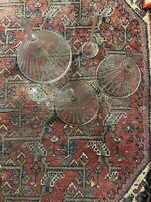 Lot of 4 Vintage Air Vent Ribbed Glass Funnels Apothecary Pharmacy Lab