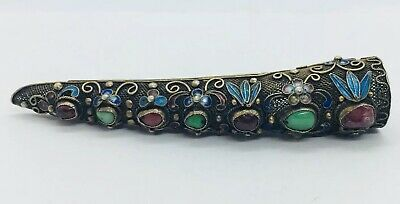Chinese Antique Sterling Silver Filigree Jade & Tourmaline Fingernail Guard Pin