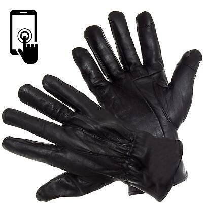 Mens Touch Screen Winter Gloves Genuine Leather Thermal Lined Waterproof Glove