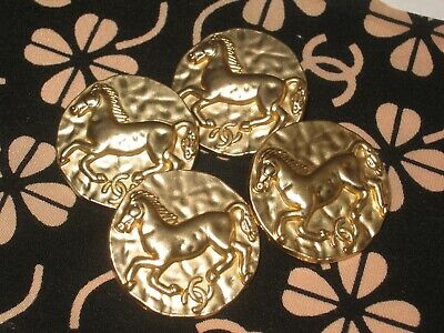 CHANEL 4 BUTTONS gold   25 mm , 1 inch metal with  cc logo HORSE