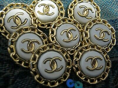CHANEL 8 gold white BUTTONS lot of 8 sz 20mm 3/4'' cc logo, eight pc