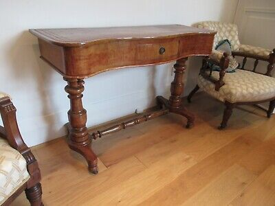 Stunning Antique Walnut Curved Console / Hall Side Table / Sideboard
