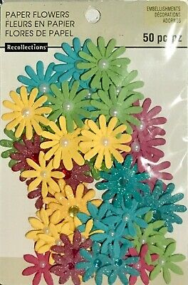 Recollections Embellishments Paper Flowers 50 Mixed Coloured Pieces