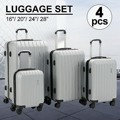 4PCS Luggage Travel Set ABS Spinner Trolley Bag Carry On Suitcase w/ Lock Silver