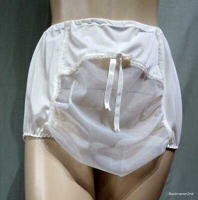VINTAGE SILKY SHEER WHITE NYLON PANTIES KNICKERS - SEE-THROUGH FRONT PANEL - Med