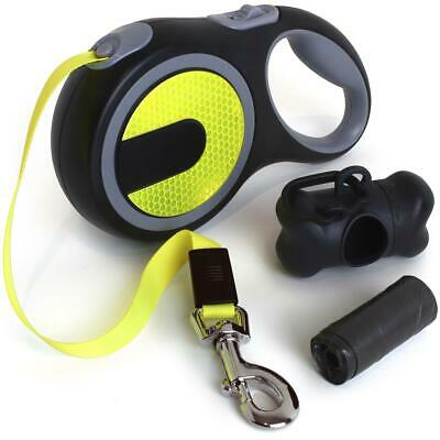 Neon Reflective Retractable Dog Lead Extending Hi-Viz Pet Leash Extendable 5m/8m