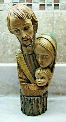Vintage Composition Statue of the Holy Family-Made in Italy-Heavy-Good Condition