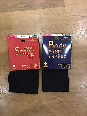 2 Pairs Of M&S Body Shaper Black Tights 60 & 30 Denier Brand New Size Large