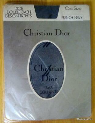 VINTAGE CHRISTIAN DIOR NAVY BLUE PATTERNED NYLON TIGHTS - One Size