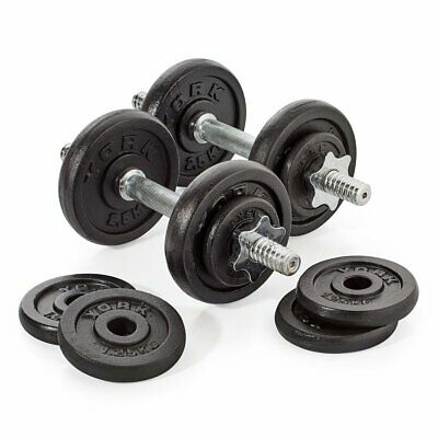 York 20kg Dumbbell Set Chrome Bars Cast Iron Weight Plates with Spinlock Collars