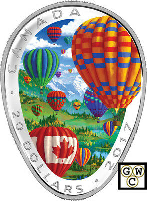 2017 'Hot Air Balloons' Shaped Color Prf $20 Silver Coin 1oz .9999 Fine(18232)NT