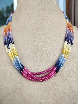 """13"""" Natural Multi Sapphire Ruby mix precious gemstones Faceted Rondelle Beads"""