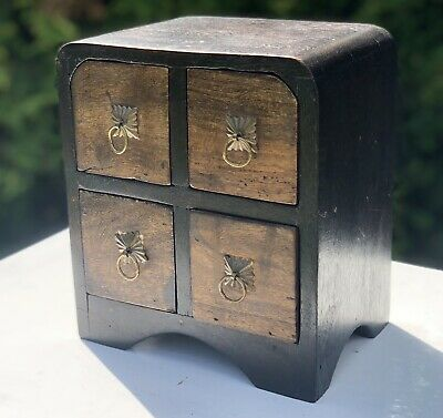 Antique Vintage Style Brass Wood Wooden Miniature Set Of Draws Jewellery Box