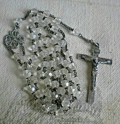 """Vintage Sterling Silver Rosary Crystal Cut Glass Bead Rosary Crucifix 23"""""""