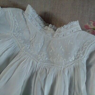 Antique Victorian Fine Linen Baby Special Occasion Day Dress White Christening