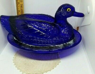 Westmoreland Elegant Glass Cobalt Blue Duck Covered Dish~Glass Eyes~Ships Free!!