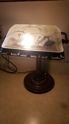 Antique Like Bronze Bankers Lamp Frosted W/ Ornate Embossed Floral Glass Shade