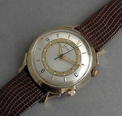 JAEGER LECOULTRE 14K SOLID GOLD Memovox Wrist Alarm Watch 1953