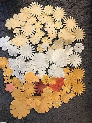 80Pcs Of Yellow Paper Flowers Paper Craft
