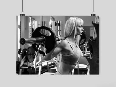 Weightlifting Sexy Hot Girl Poster Print Wall Art Gym Fitness Weights Size A3 A4
