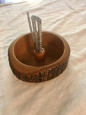Vintage Wooden Nut Bowl Made From Tree Bark with Nut Cracker