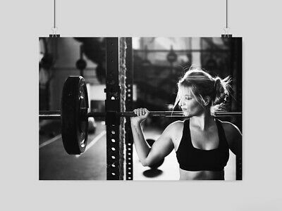 Weightlifting Sexy Hot Girl Poster Wall Art Print Gym Fitness Weights Size-A3 A4